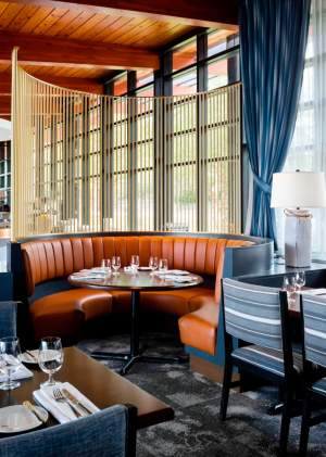 Spencer's at the Waterfront | A banquette inside the dining room at Spencer's