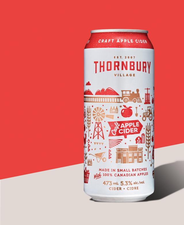 A can of Thornbury Premium Apple Cider