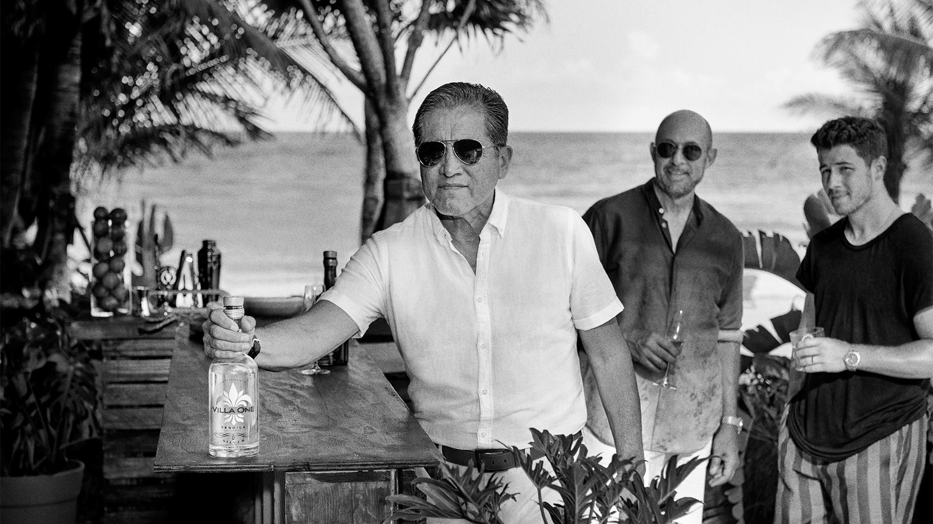 Arturo Fuentes, Godfather of Tequila, along with Nick Jonas and John Varvatos | Villa One Tequila