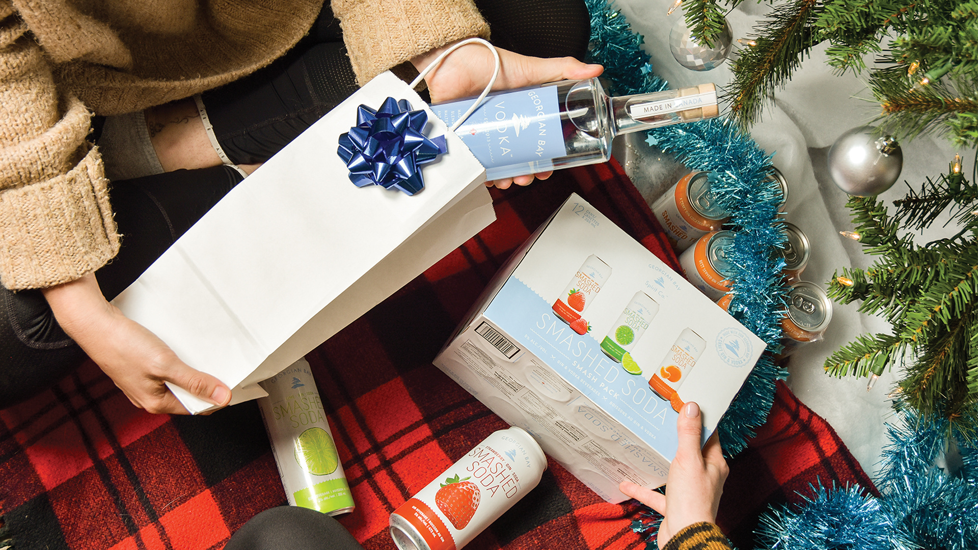 Georgian Bay Spirit Co. | Georgian Bay Vodka and a pack of Smashes under the tree