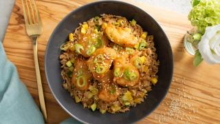 Gardein plant-based meat alternatives   Make this recipe for plant-based mandarin chick'n and vegetable fried rice