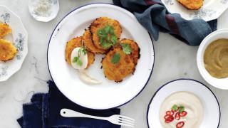 Latke recipe served with vegan chili cream