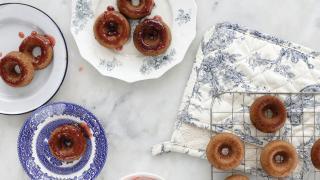 Strawberry-glazed sufganiyot recipe from The Jewish Food Hero Cookbook