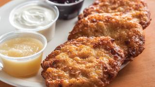 Toronto's best latkes | A plate of latkes with dips from United Bakers