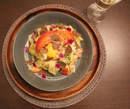 """Make This: Toben Food by Design's Lobster and Black Winter Truffle Pappardelle """"Carbonara"""""""