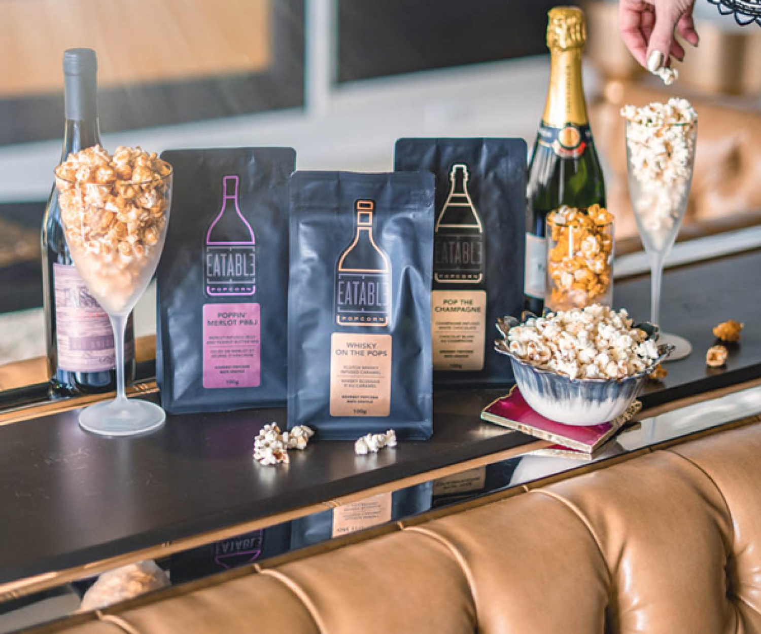 Eatable alcohol-infused popcorn
