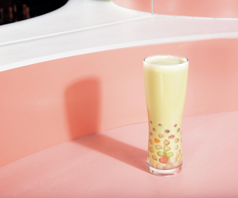 Vanilla matcha milk tea from Toronto's Bar Mordecai