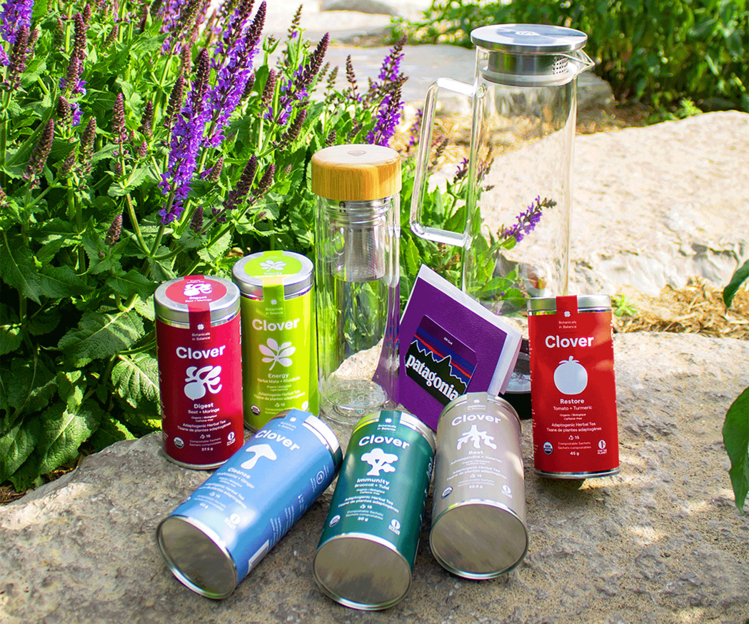 Win a super tea and healthy lifestyle prize pack | Clover Botanicals adaptogen tea, Grosche water bottles and a Patagonia gift card