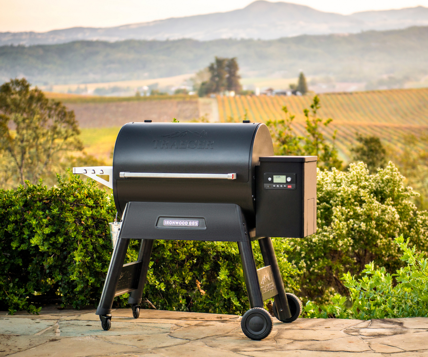 Win a Traeger Pro 575 Grill | A Traeger Grill against a scenic backdrop