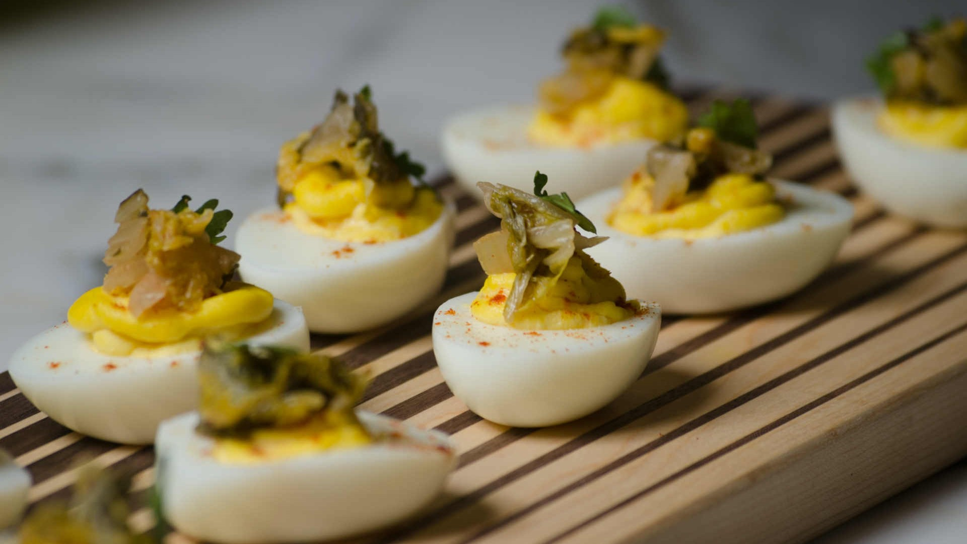 Mighty Fine Brine's Kraut-Chi deviled eggs