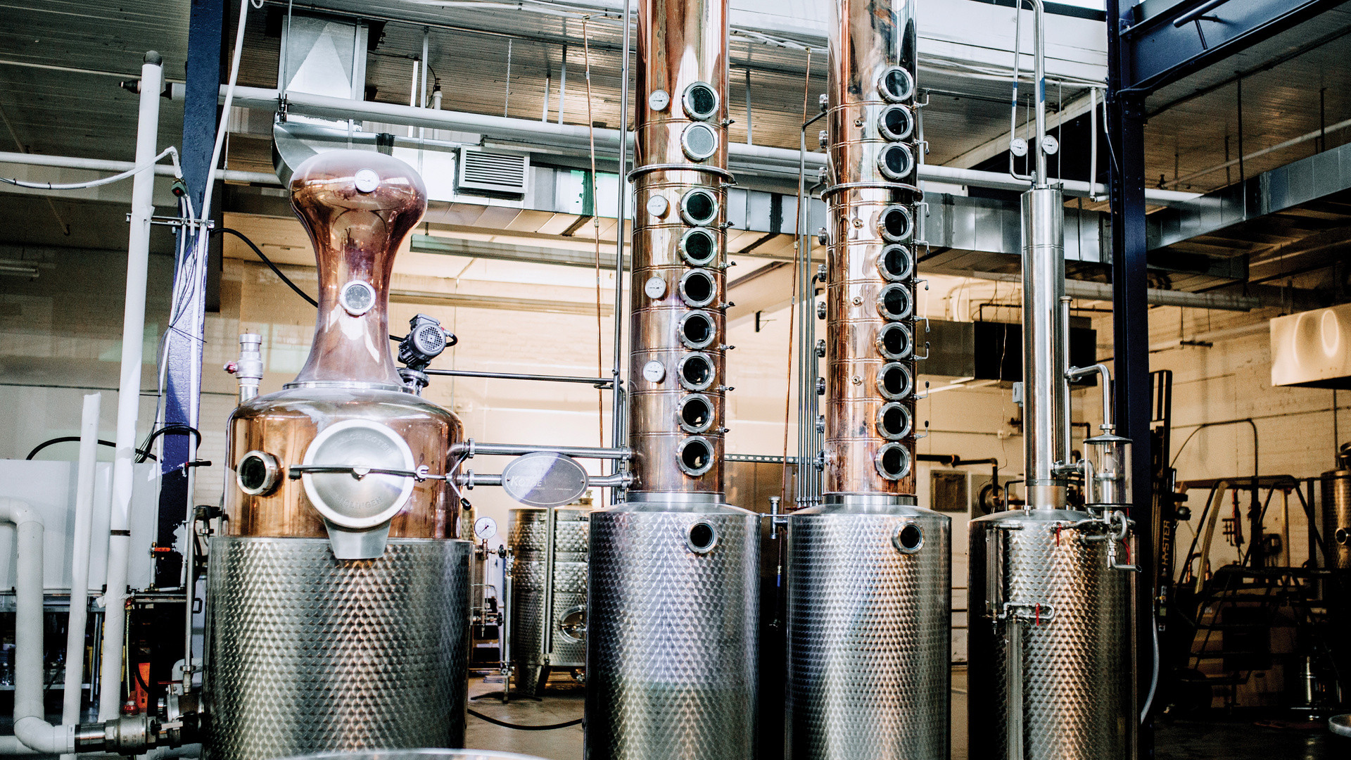 Alcohol delivery in Toronto | the stills inside Reid's Distillery in Toronto