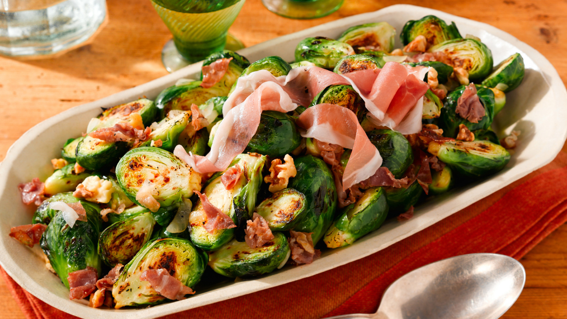 Italian appetizers: Sautéed Brussel Sprouts with Prosciutto di San Daniele