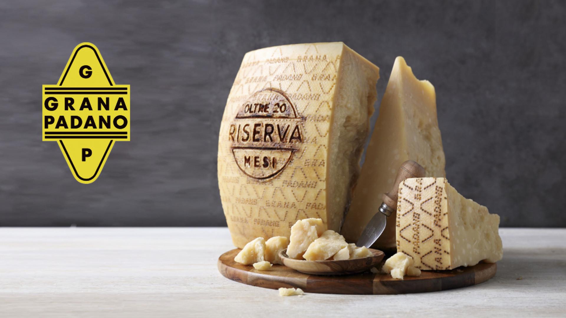 A big wheel of Grana Padano cheese
