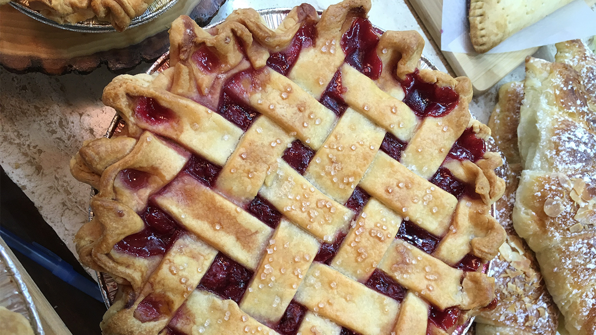 sour cheery pie from Mabel's | Lattice fruit pie from Dough Bakeshop