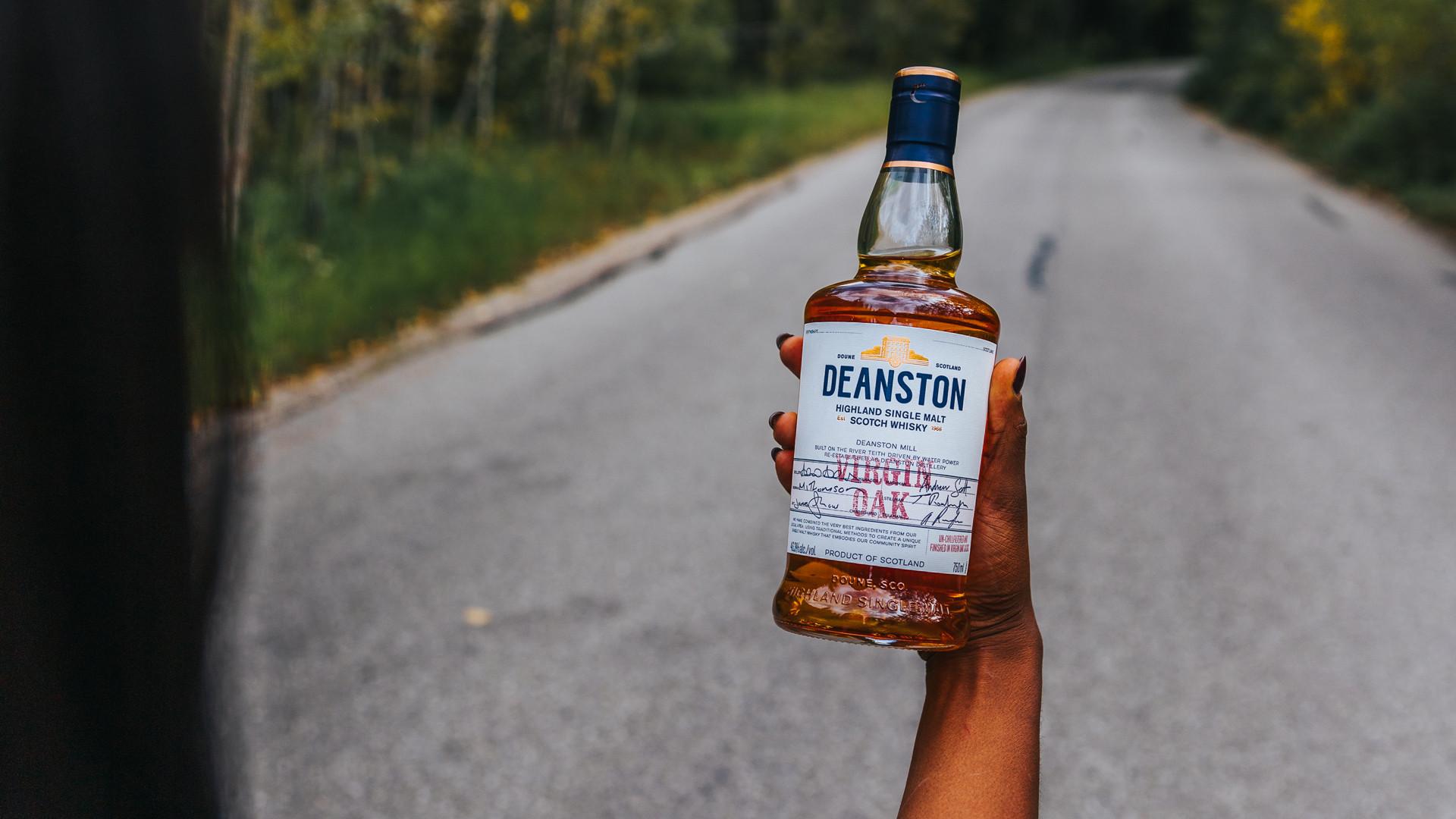 Deanston smoked old fashioned recipe | a bottle of Deanston Virgin Oak