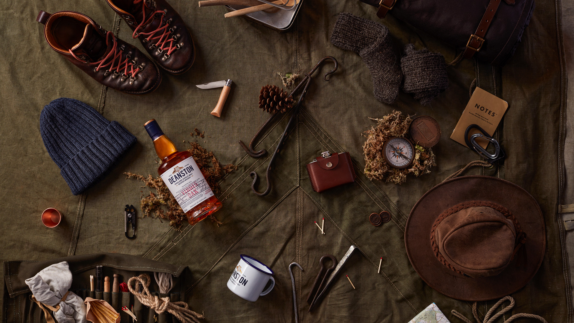 Deanston smoked old fashioned recipe | a spread of earthy hipster items