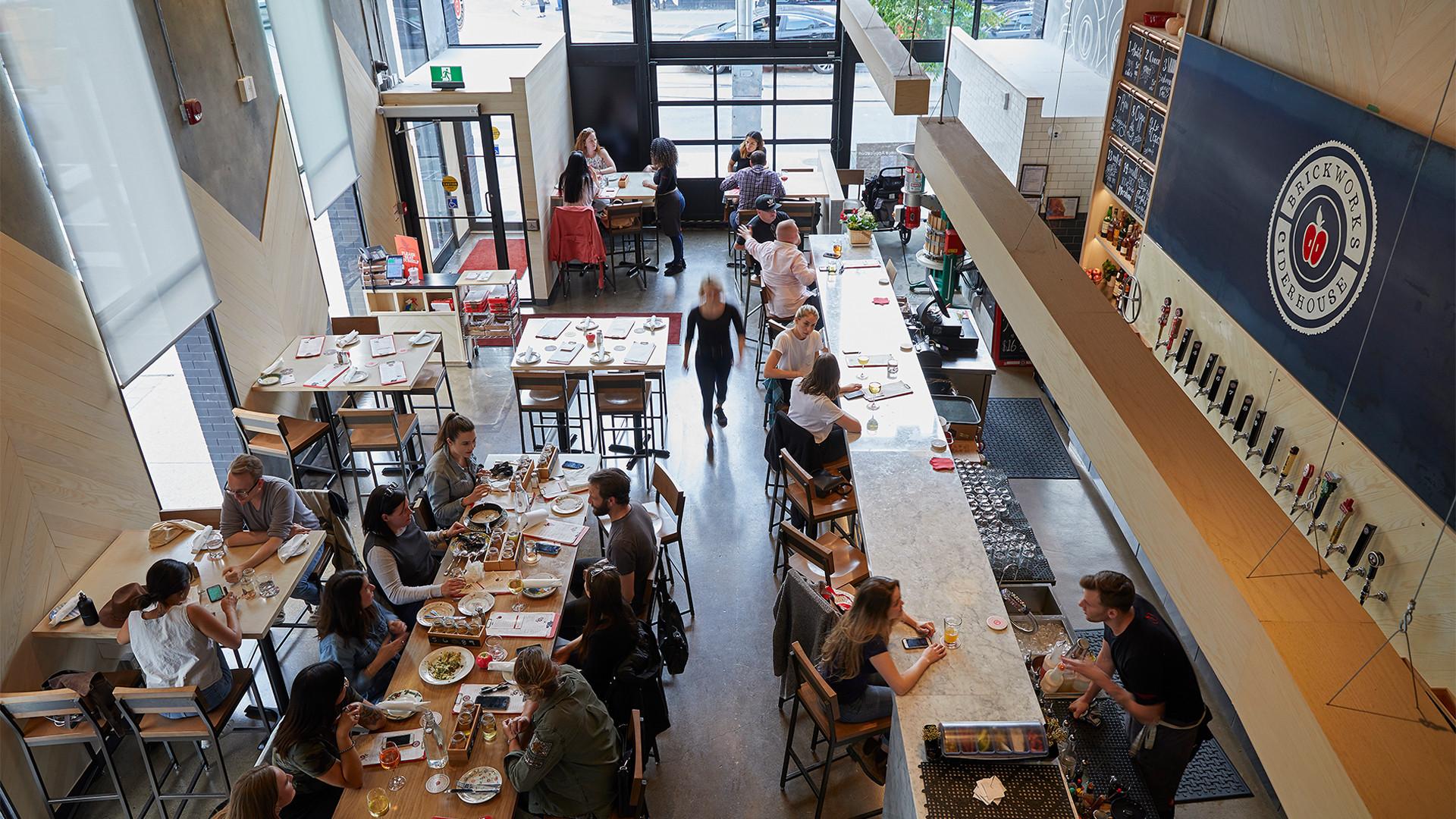 Brickworks Ciderhouse Toronto craft cider | Dining inside (pre-COVID)