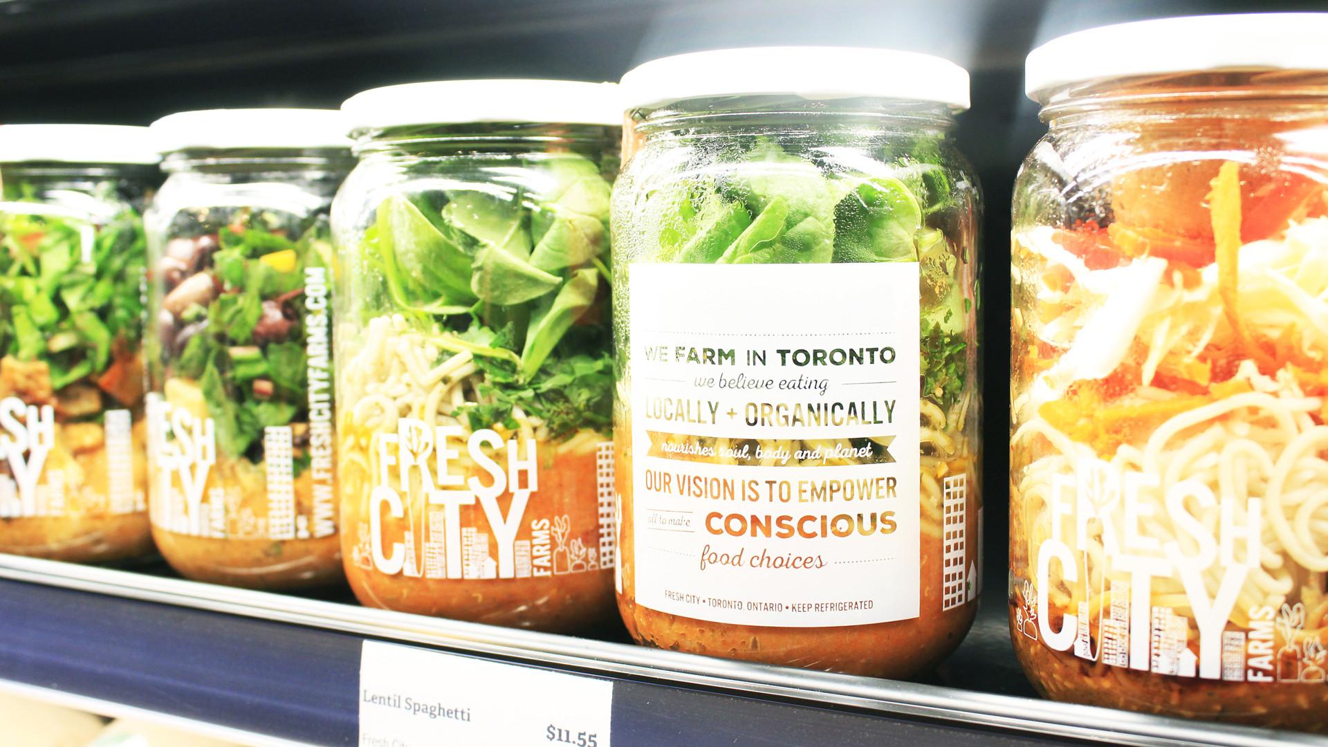 Salad jars on the shelf at Fresh City Farms