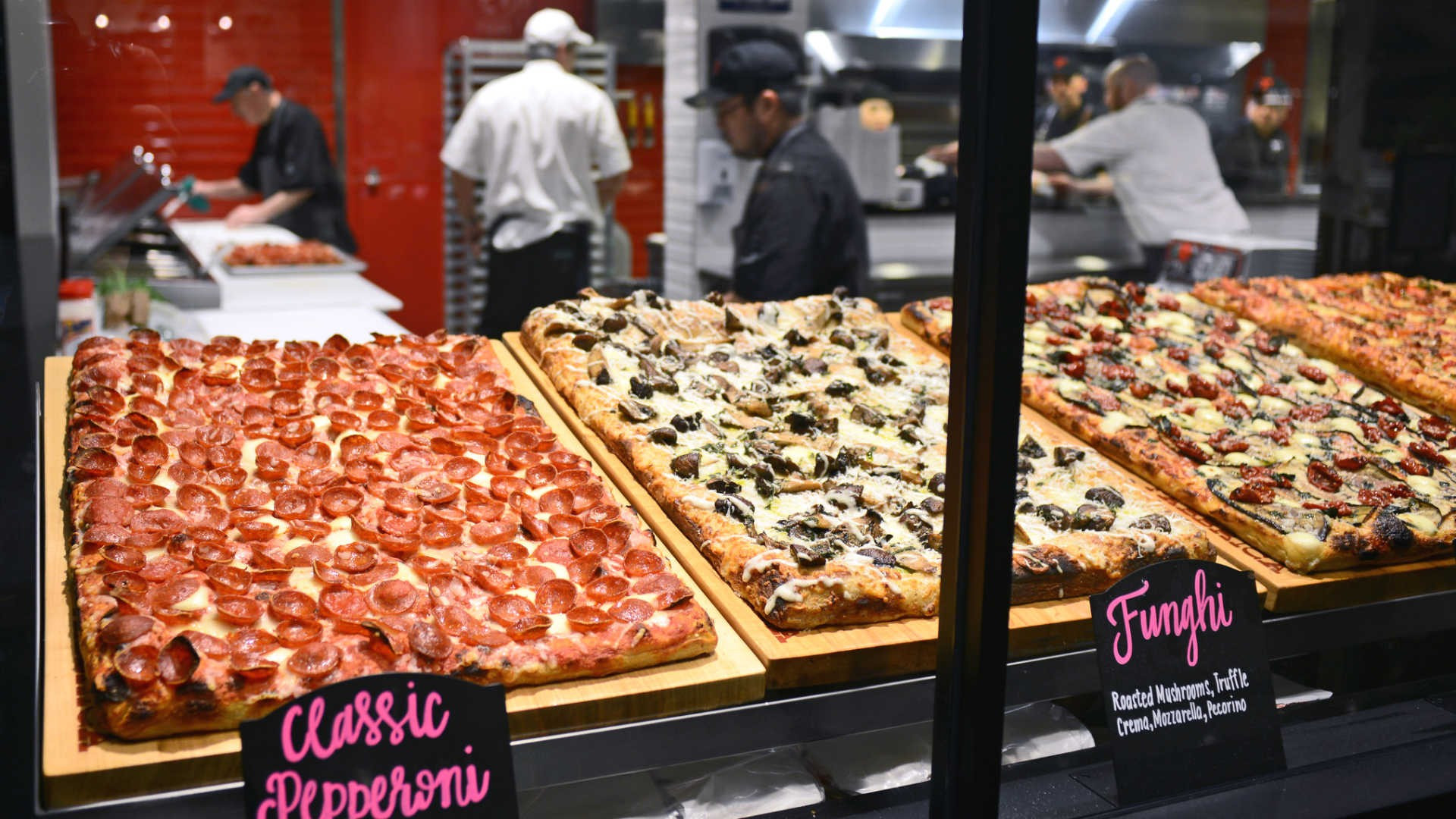 The best pizza in Toronto | Pizzas in the display case at Fabbrica in the TD Centre