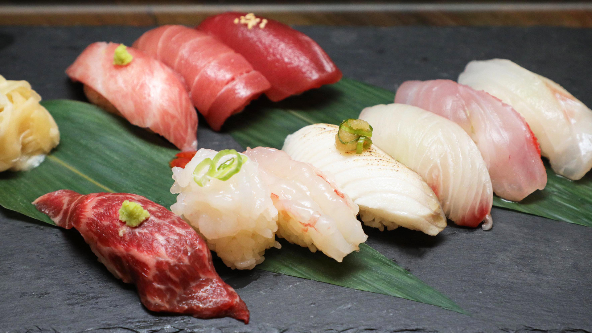 The best sushi in Toronto | Assorted nigiri sushi on a leaf at JaBistro