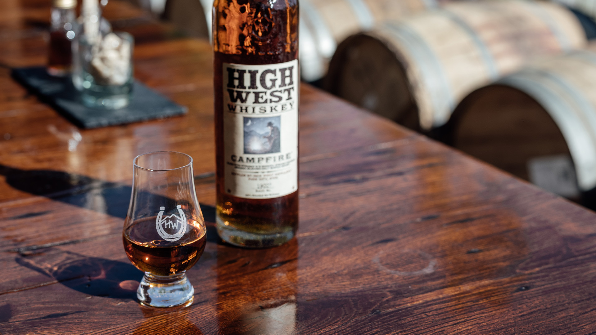 High West American craft whisky is now available at LCBO | A bottle of High West Campfire and a glass