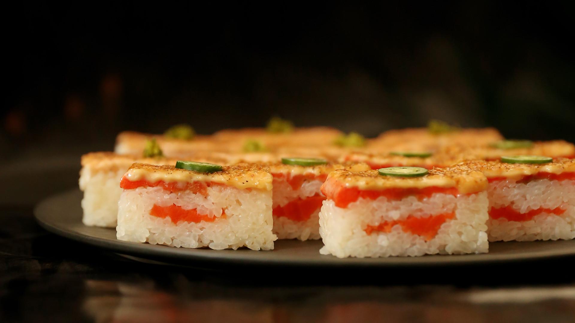 Best sushi in Toronto | A platter of salmon oshi at Minami Toronto