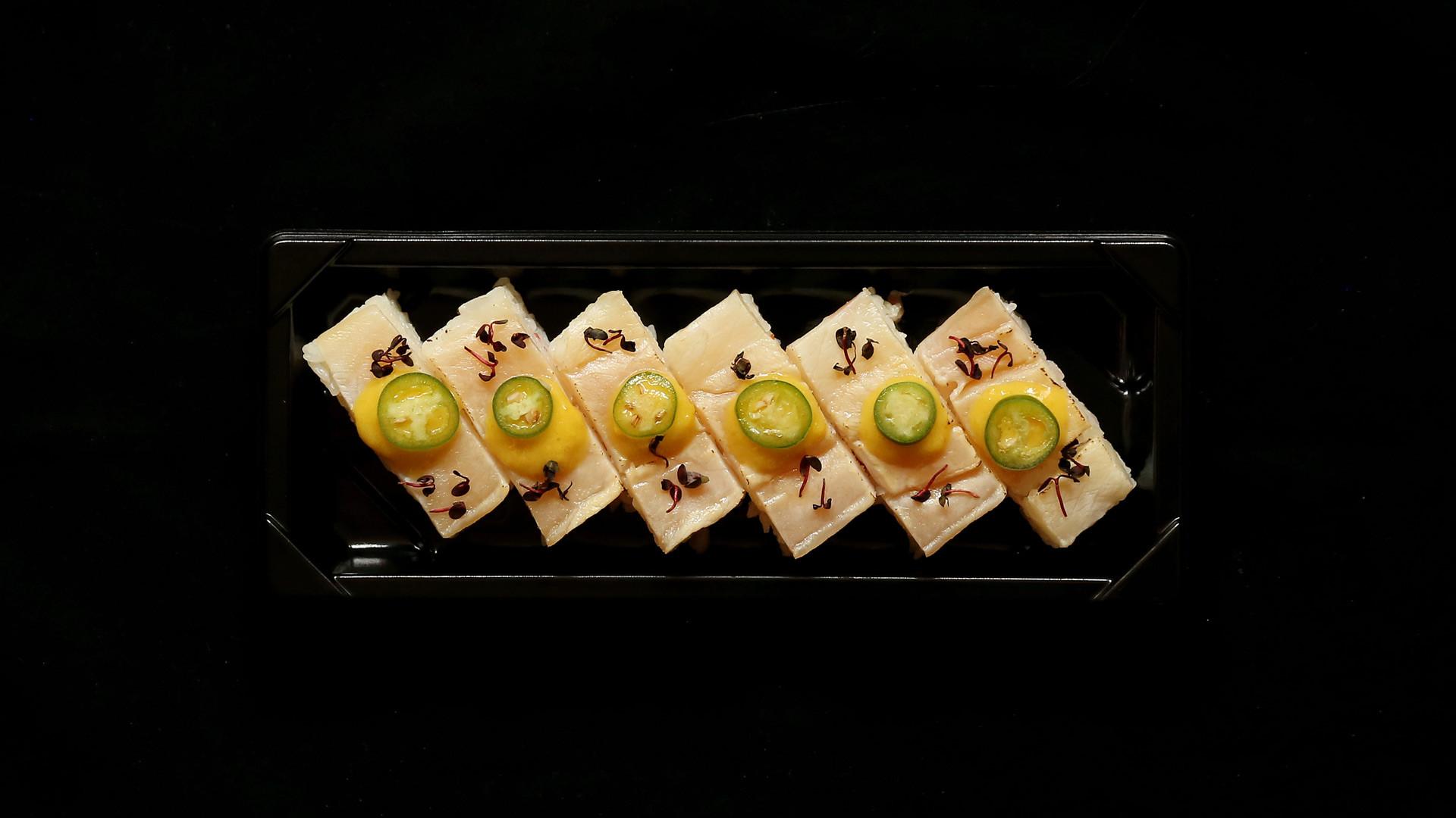 Best sushi in Toronto | A platter of yellowtail oshi at Minami Toronto
