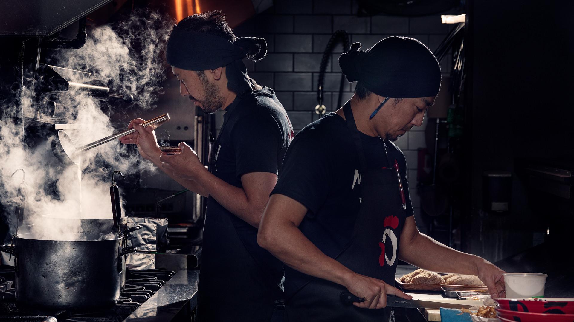 The best ramen in Toronto | Chefs at Midori cooking ramen