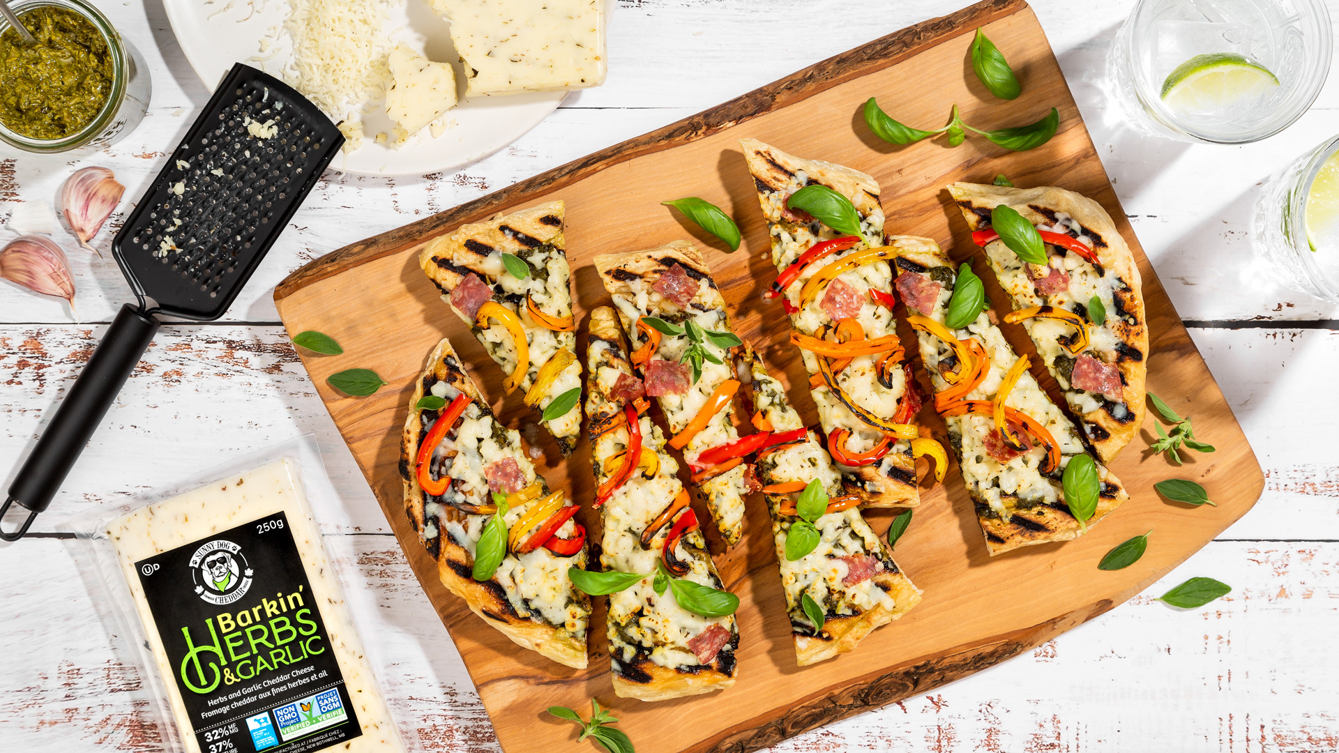 Win a Bothwell Cheese Sunny Dog Barkin' Herb & Cheddar prize pack | Flat bread made with Sunny Dog Barkin' Herb & Cheddar