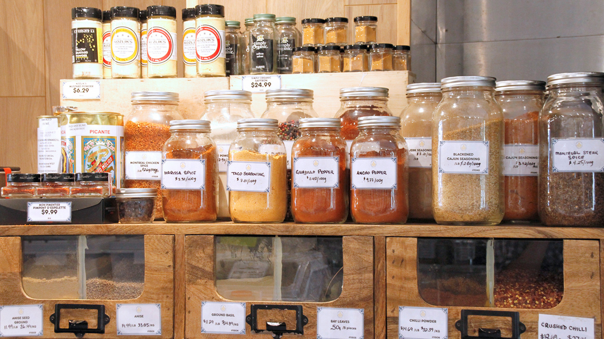 Unboxed Market, Zero waste grocery store and refillery | Spices sold loose from glass jars