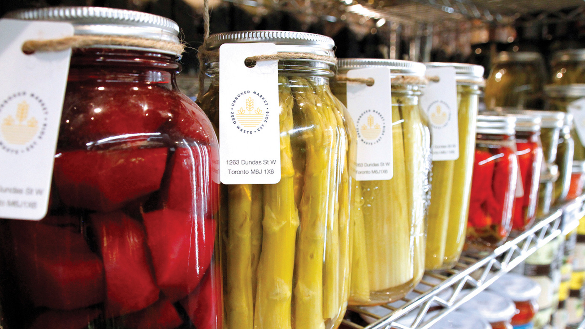 Unboxed Market, Zero waste grocery store and refillery | Pickles and preserves are sold in glass jars