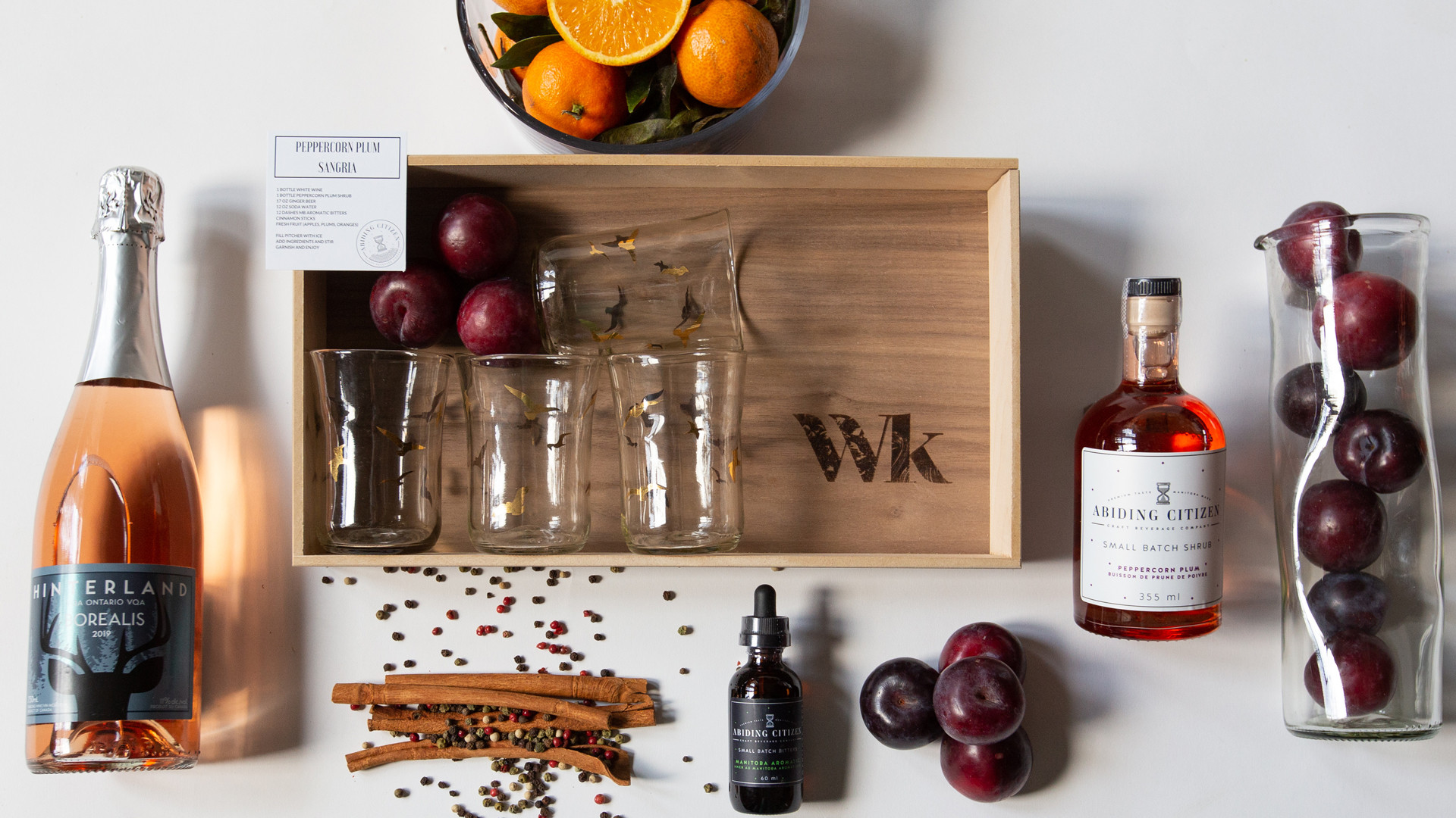 Wonderkind unique local gift sets made in Canada | A bespoke gift box with plum sangria