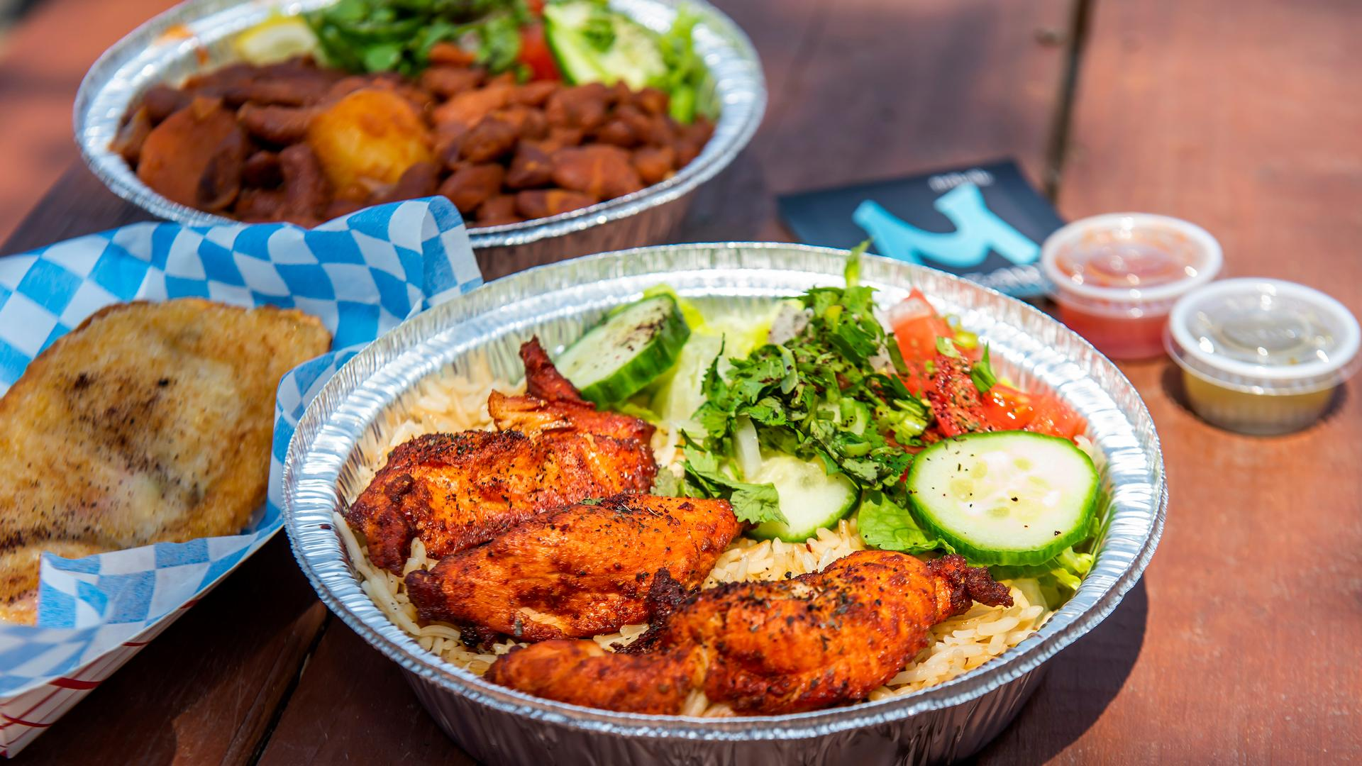 The best Toronto food markets   Chicken wings, rice and salad at Market 707