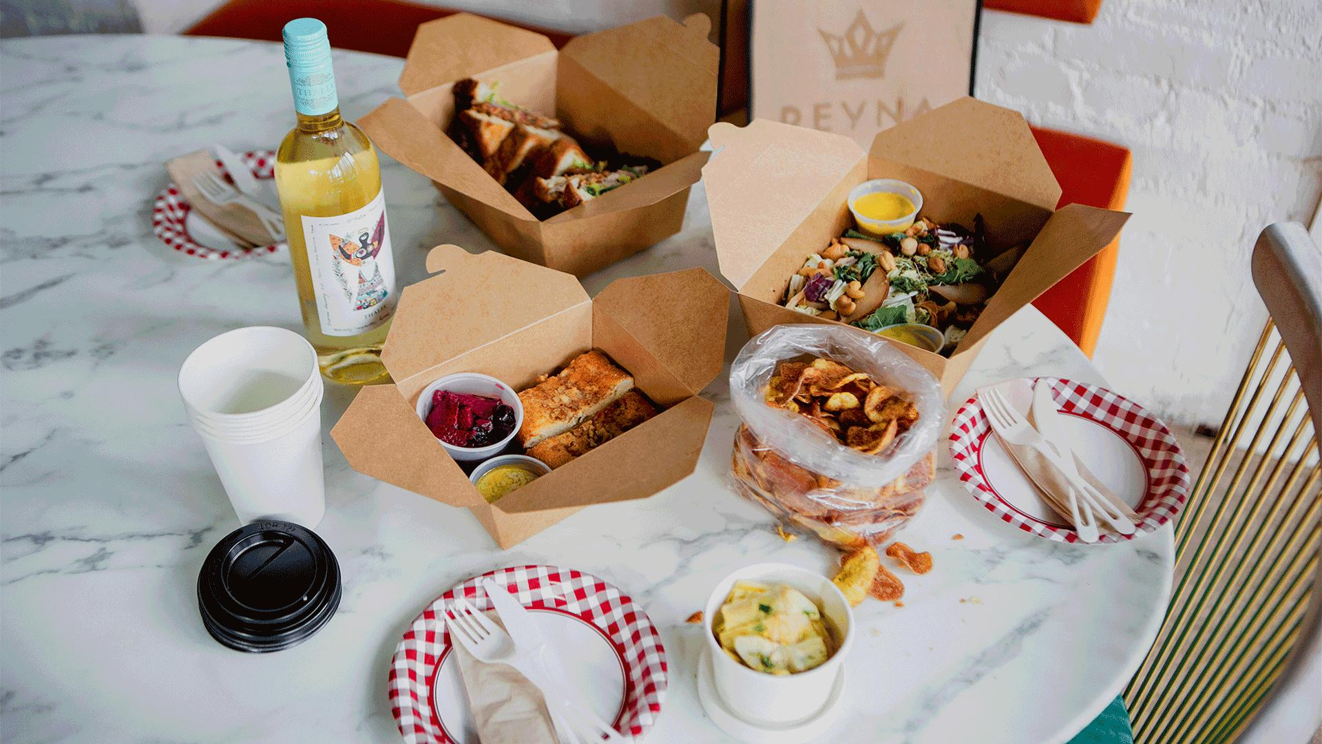 Must-try picnic baskets from Toronto restaurants   A table spread of Reyna on King's picnic to go