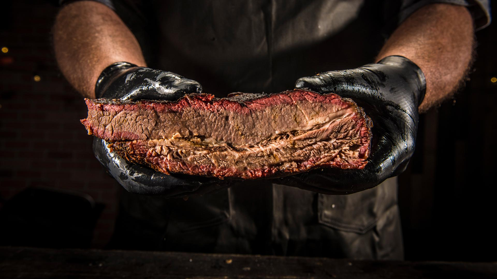 Brisket cooked on a Traeger grill