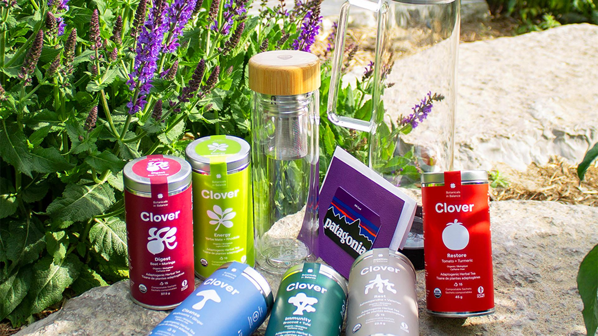 Win a super tea and healthy lifestyle prize pack | Clover Botanicals super tea, Grosche water bottles and a Patagonia gift card