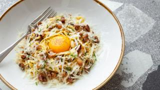 Pasta carbonara at the new Ascari Enoteca on King West.