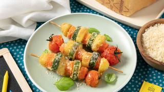 Italian appetizers: Baked Vegetable, Potato & Grana Padano Skewers