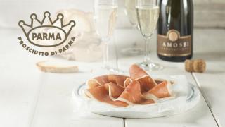 Prosciutto di Parma Italian cured ham with Champagne