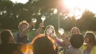 A group enjoying Côtes du Rhône wines
