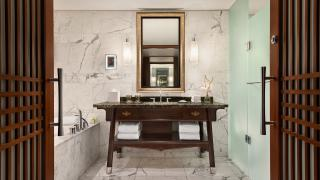 The best Toronto hotels for a staycation | Marble ensuite bathroom at The Shangri-La hotel