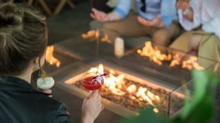 Shangri-La Toronto   Patio cocktails around the fire