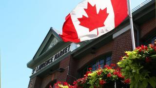 St. Lawrence Market   Canadian flag flies