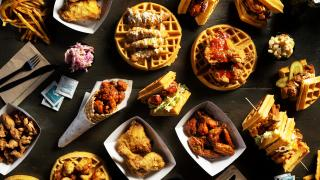 The best fried chicken sandwiches in Toronto | A full spread of fried chicken and waffles from Dirty Bird