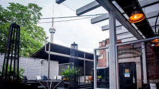 The best patios in Toronto | A view of the CN Tower from the patio at Xango