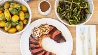 Father's Day dinners and Father's Day gifts   A striploin steak is included in Marben's Father's Day Dinner Kit