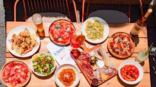The best patios in Toronto | A selection of pizza and pasta at Il Patio di Eataly with Aperol