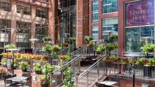 Restaurant Review: The Rabbit Hole, a whimsical British pub   The Rabbit Hole's patio