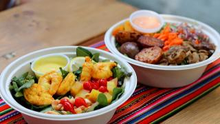 The best new restaurants in Toronto for summer 2021 | A Hot Brasa Chicken bowl and a Yellow Chili Pepper Shrimp salad from Brasa Peruvian Kitchen