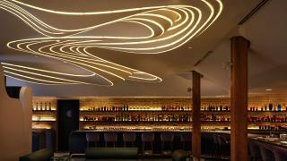Restaurant review: Vela Toronto   Swirling lights on the ceiling